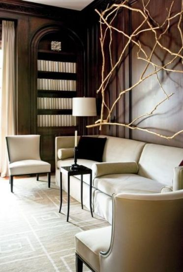 A-stunning-wall-decoration-fully-made-of-bleached-branches-is-a-cool-idea-to-enliven-such-a-formal-space