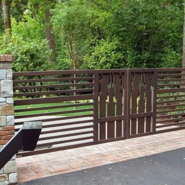 Brown-painted-steel-driveway-gate-ideas