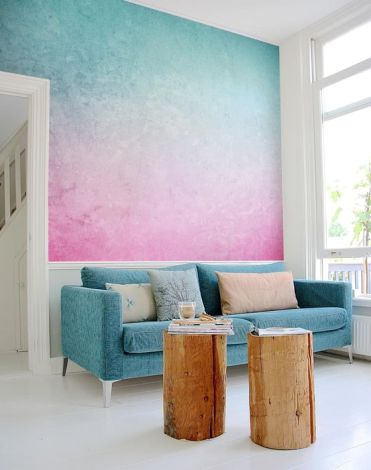 02-a-bright-turquoise-to-pink-gradient-wall-is-a-gorgeous-statement-in-the-space-it-brings-much-color