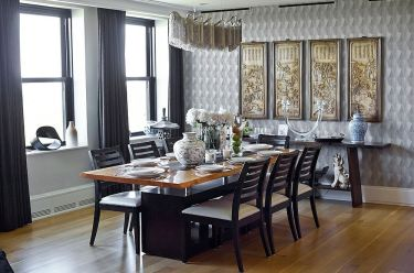 Asian-themed-scrolls-and-decorative-pieces-add-to-the-style-of-the-dining-room