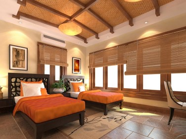 Bright-orange-and-cool-bamboo-blinds-offer-wonderful-contrast