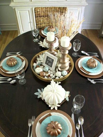 02-brown-tablescape-with-blue-accents-candles-in-antique-candle-holders-and-wheat