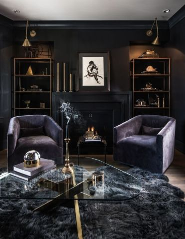 12-a-luxurious-dark-living-room-with-black-walls-purple-chairs-a-grey-faux-fur-rug-and-some-brass-touches-for-a-chic-look