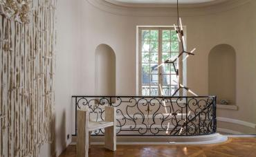Original design chandelier / aluminum / halogen