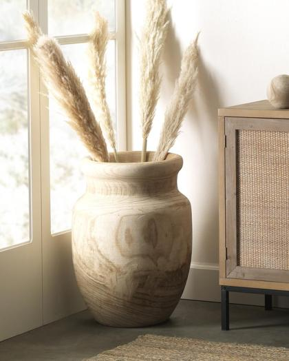 Sculpted-natural-wood-floor-vase-round-and-wide-pampas-grass-vases-bohemian-decorative-objects-for-sale-online-shabby-chic-cottage-decor-ideas