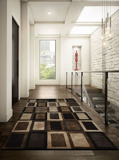 Ultra-modern-entryway-rug-with-brown-theme