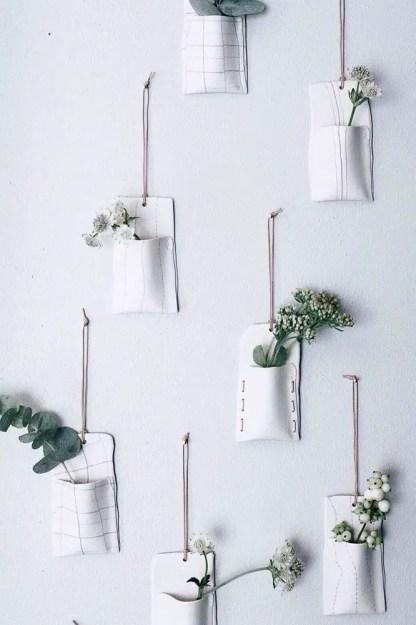 Wand-Pflanzgefäße-einfache-Taschen-Keramik-Luft