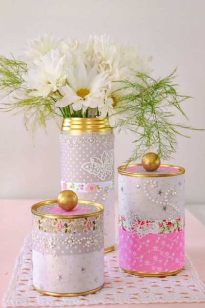 Upcycled-tin-can-storage