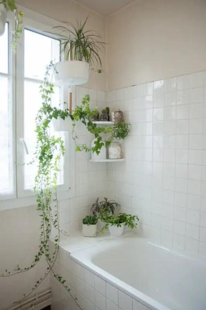 Einige-Wandregale-und-aufgehängte-Pflanzgefäße-mit-Grün-machen-das-neutrale-Badezimmer-sehr-frisch-fühlen-und-aussehen