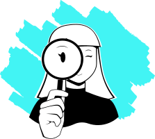 Illustration of woman looking through magnifying glass