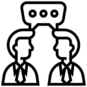 Icon of two men facing each other with speech bubble over their heads