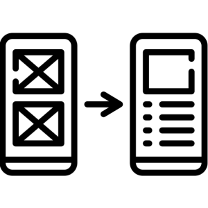 Icon of two phones side by side, showing an email being delivering a email from one to the other
