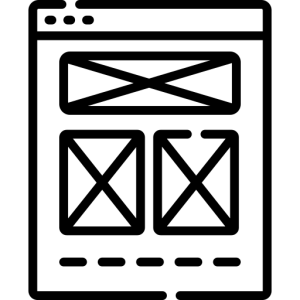 Icon of a web page layout showing 3 boxes
