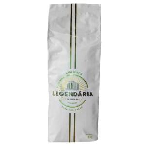 erva-mate legendaria fundo branco - legendaria é uma erva com pacote branco, duas linhas paralelas verticais verde, escrito legendaria no meio.