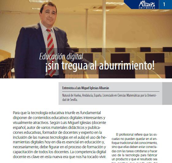 Entrevista: Educación digital ¡sin tregua al aburrimiento! en revista de Fundación en Alianza: