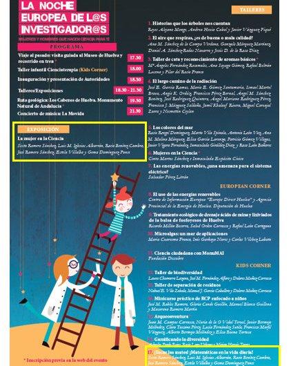 Taller: ¡Tocar las mates! ¡Matemáticas en la vida diaria! y Exposición: La Mujer en la Ciencia en la Noche de los investigadores de Huelva #NIGHTSpain