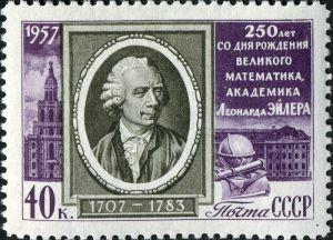 Sello del año 1957 de la antigua Unión Soviética conmemorando el 250 aniversario del nacimiento de Euler