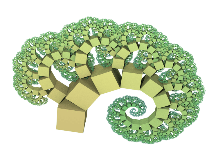 Árbol de Pitágoras con ángulos de 30º y 60º