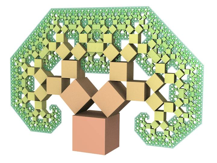 Árbol de Pitágoras centrado (ángulos de 45º)
