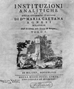 Instituzioni analítiche ad uso della gioventù italiana