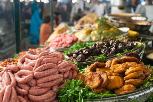 Comida en la plaza de Djemaa el Fna, Marrakech, Marruecos. © mateoht 1990-2013 - http://lafotodeldia.net