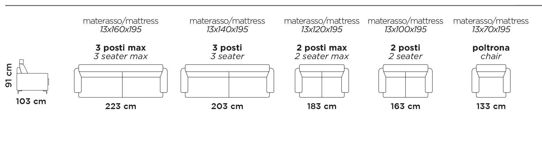 Divano Letto Mod.Cubo F Divano letto trasformabile con rete elettrosaldata e materasso spalliera portag uanciali