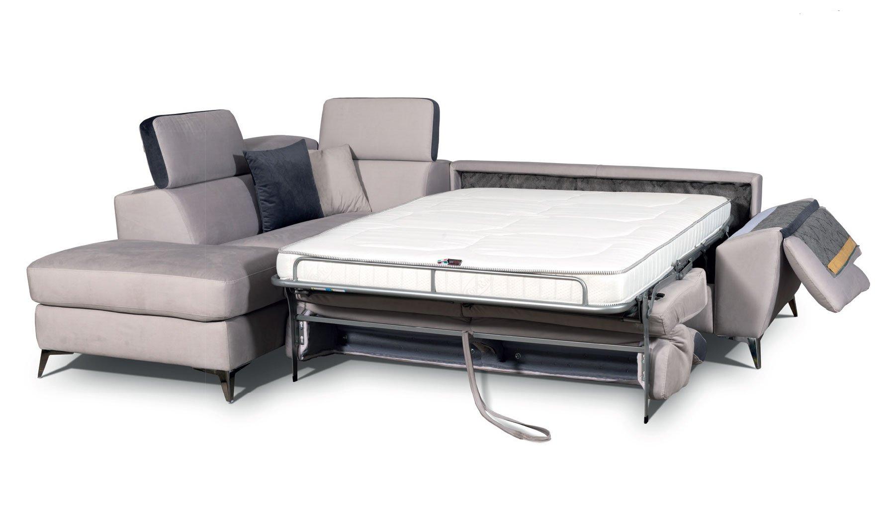 Divano Letto Mod.Thaity Divano letto trasformabile con rete elettrosaldata e materasso