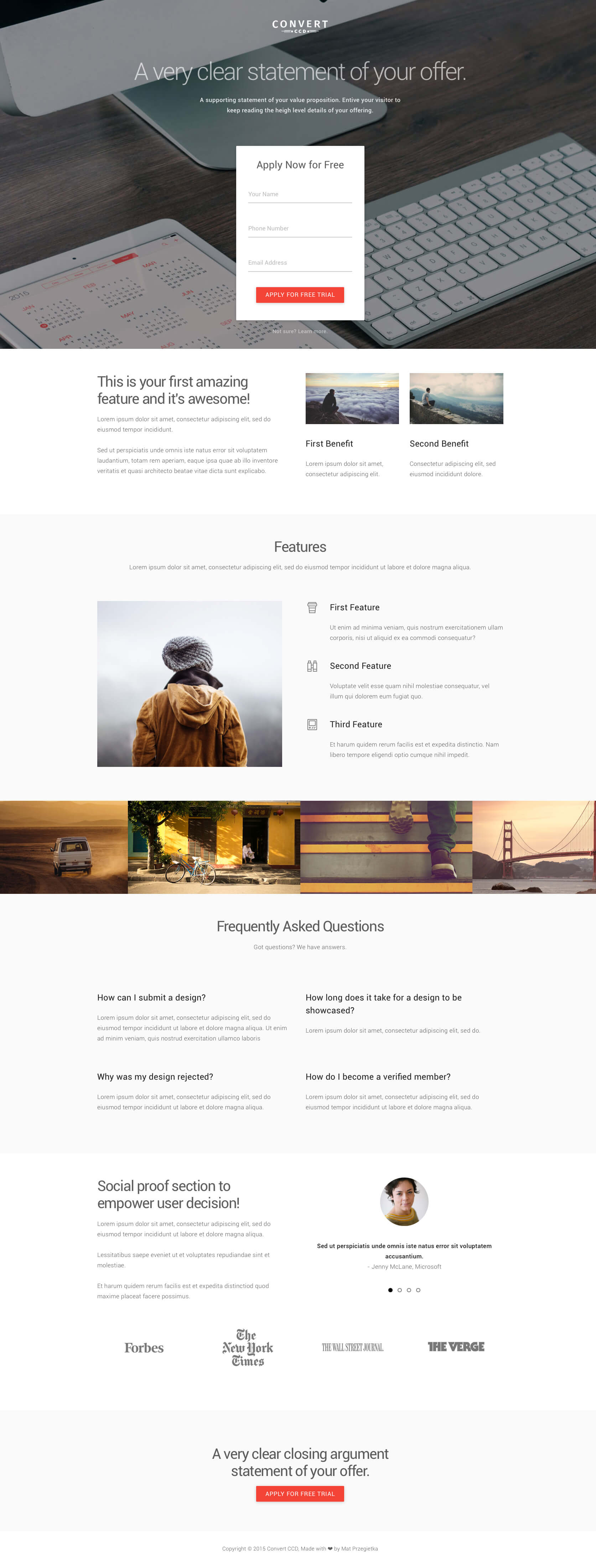 Material Design landing page PSD