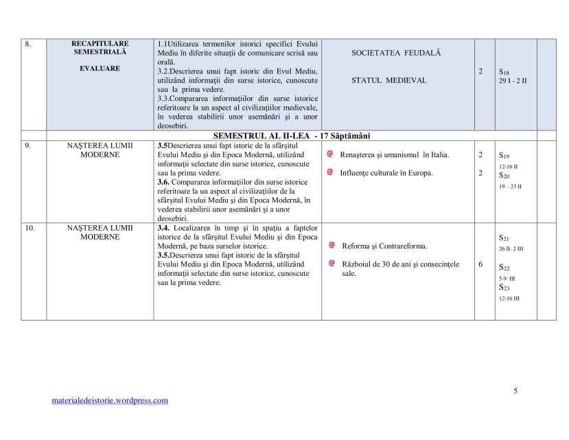 Planificare Clasa a VI a-5