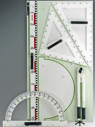 Trusa de instrumente geometrice pentru tabla (6 buc.)