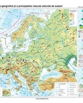 Europa. Harta fizico-geografica si a principalelor resurse naturale de subsol