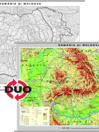 Romania - harta fizica - pe verso harta in contur