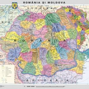 Romania - harta administrativa - pe verso harta in contur 5