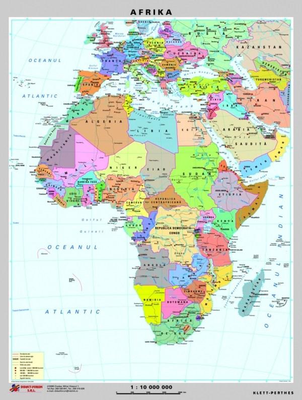 Africa - harta fizica - pe verso: harta politica a Africii 5