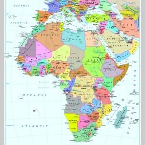 Africa - harta fizica - pe verso: harta politica a Africii 7