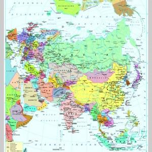 Asia - harta fizica - pe verso: harta politica a Asiei 7