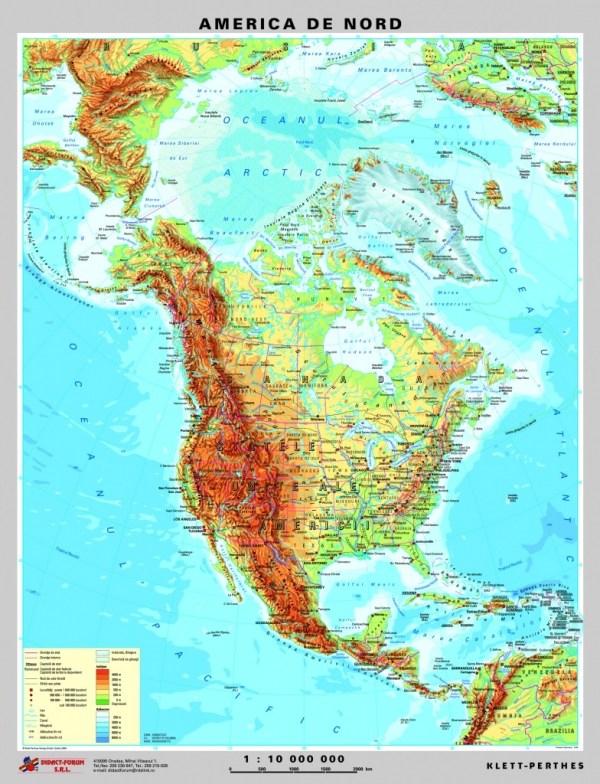 America de Nord - harta fizica - pe verso: harta politica a Americii de Nord 4
