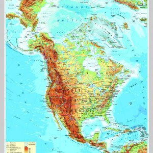 America de Nord - harta fizica - pe verso: harta politica a Americii de Nord 6