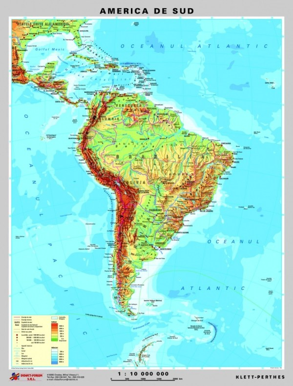 America de Sud - harta fizica - pe verso: harta politica a Americii de Sud 4
