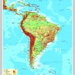 America de Sud - harta fizica - pe verso: harta politica a Americii de Sud 6
