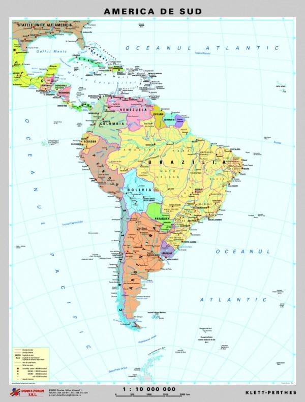 America de Sud - harta fizica - pe verso: harta politica a Americii de Sud 5