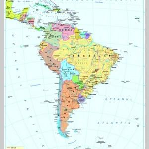 America de Sud - harta fizica - pe verso: harta politica a Americii de Sud 7