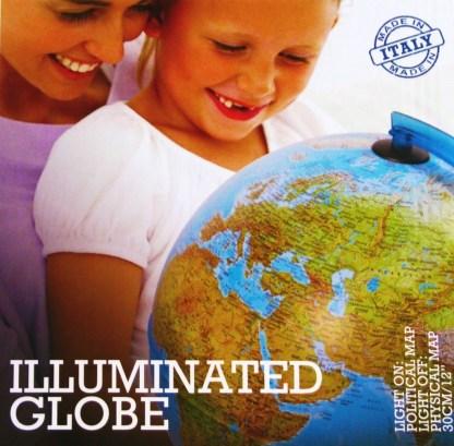 Glob geografic pamantesc iluminat, 30 cm