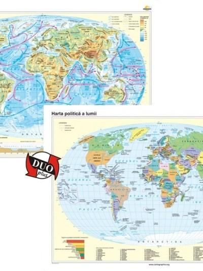 Harta fizica a Iumii si Harta politica a lumii
