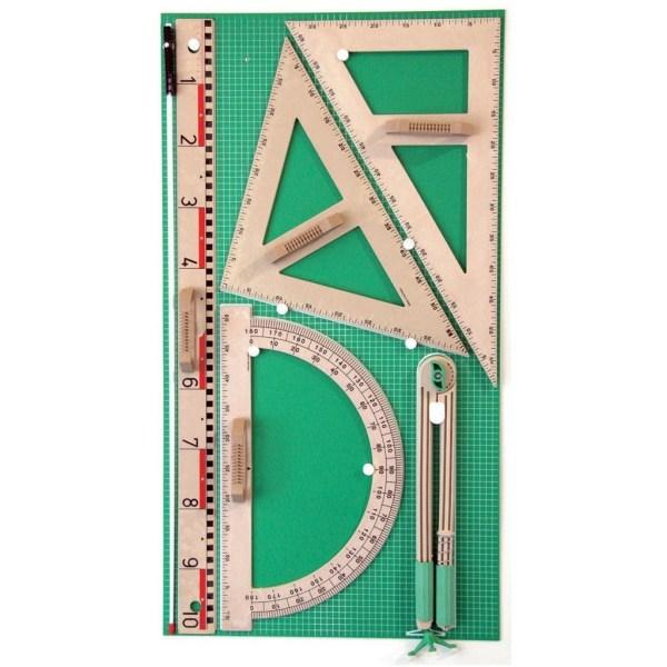 Trusa de instrumente geometrice pentru tabla din lemn reciclat 3