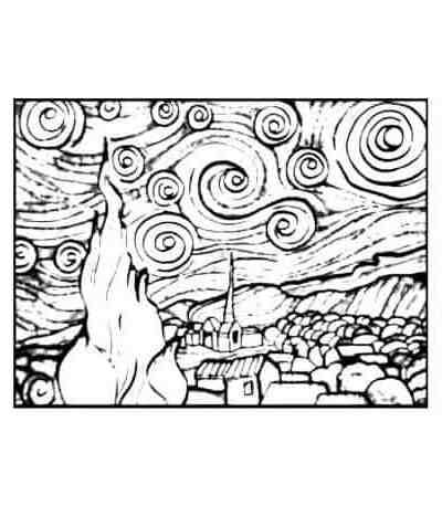 Plansa de colorat catifea - Van Gogh - Noapte instelata