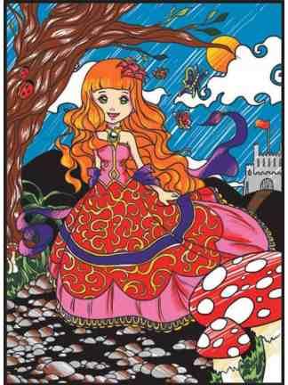 Plansa de colorat catifea - Printesa