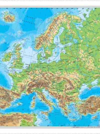 Harta fizica si administrativa a Europei