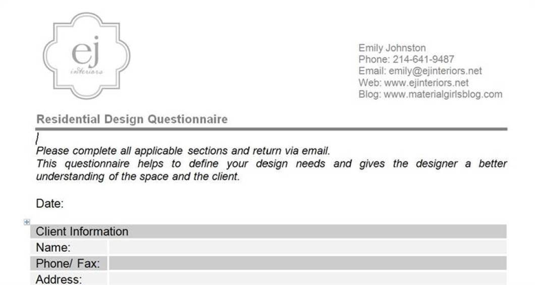 Interior design client profile questionnaire for Office design questionnaire