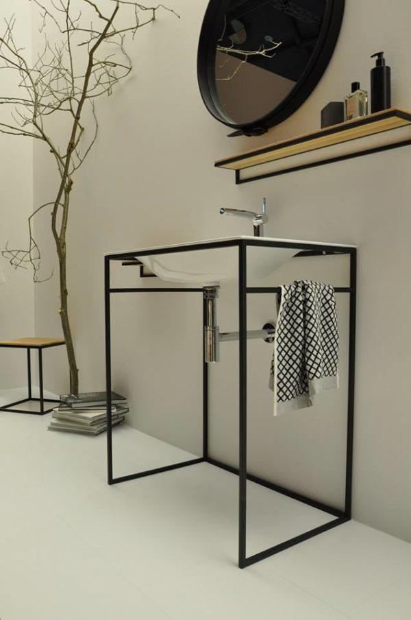 "alt=""eventi-ish-francoforte-bette-lavabo-colonna-minimal-acciaio-tubolare-metallico-frame"""